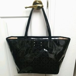 KATE SPADE patent leather tote perforated spades